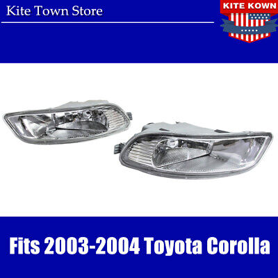 Pair LH RH Replacement Clear Bumper Fog Light Lamp For 2003-2006 Toyota Corolla
