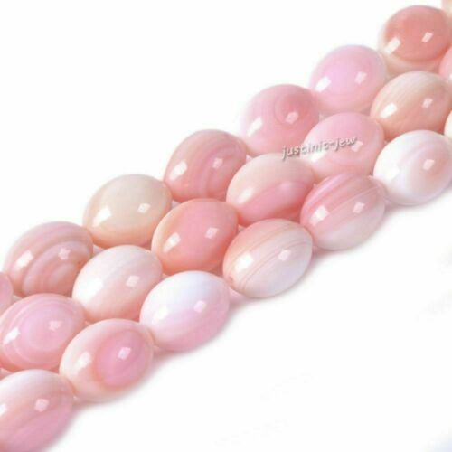 11mm Natural US Pink Queen Conch shell oval rice loose beads 16""