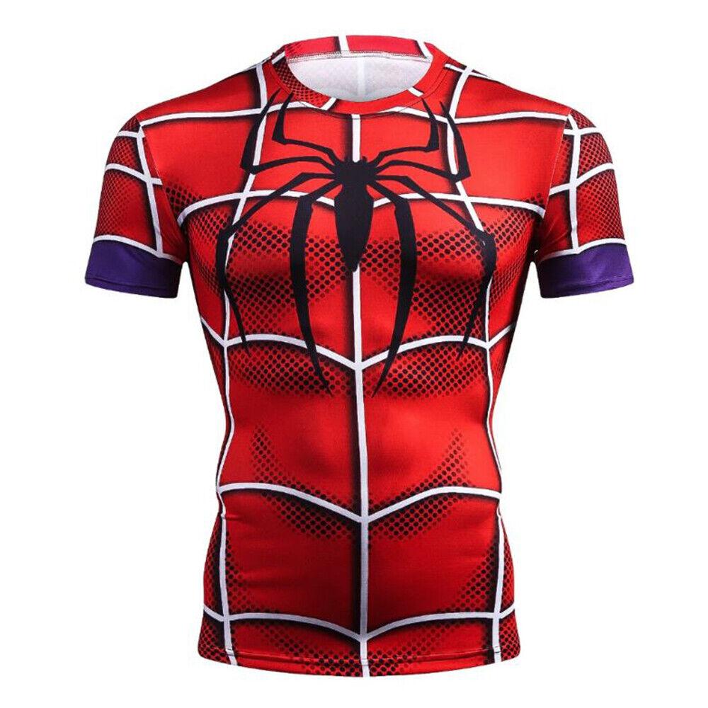 Marvel Mens Kids Compression Superhero Full 3D T-Shirt Tops Costume Spiderman