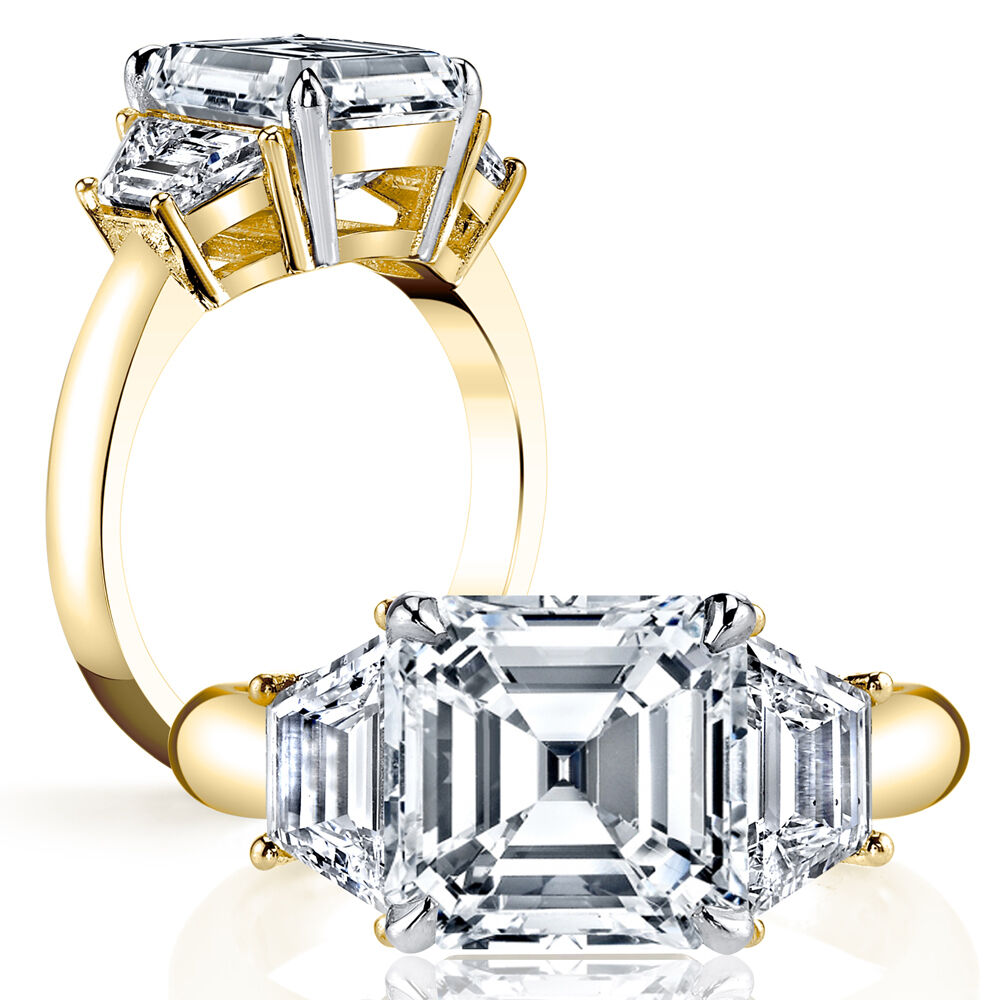1.60ct Natural Asscher 3-Stone Trapezoid Diamond Engagement Ring - GIA Certified 1
