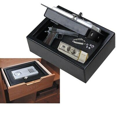 Digital Drawer Gun Safe Keypad Lock Pistol Cash Storage Box Home Office Security
