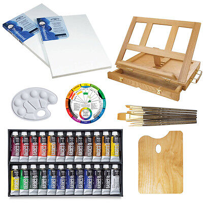 Liquitex 24 Acrylic Paint Table Easel Artist Painting Set Kit w/ Brushes Canvas on Rummage