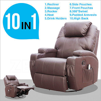 Brown Leather Cinema Electric Massage Rocking Swivel Gaming Recliner Chair