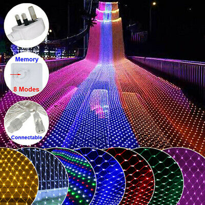 Christmas Ourdoor Fairy String Lights Net Curtain 96-200 LED Party Plug US 110V ()