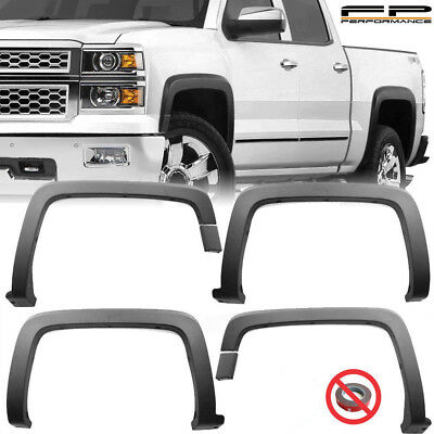 For 14-18 Silverado 1500 15-18 2500HD 3500HD OE Style Fender Flares Trim Black