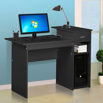 Home Office Corner Desk Wood Top PC Laptop Table WorkStation Furniture black