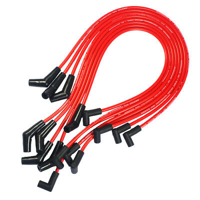 HEI RED Spiral Core SPARK PLUG WIRES 45 DEGREE END For BBC CHEVY 396-427-454-502