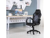BRAND NEW SPORTS RACING GAMING OFFICE COMPUTER LEATHER CHAIR BLACK & GREY