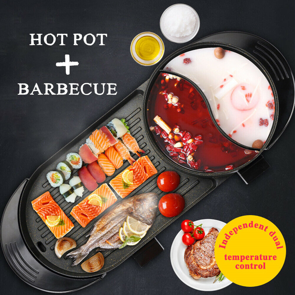 Portable Electric 2 in 1 Hot Pot Barbecue Grill Non-Stick Te