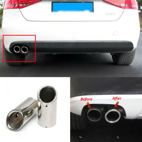 New 2pcs Black Color Stainless Steel Tailpipe Exhaust Muffler Rear Tail Pipe Tip Cover Trim Custom Fit For VW Jetta Sedan 2013 2014 2015 2016 2017 2018