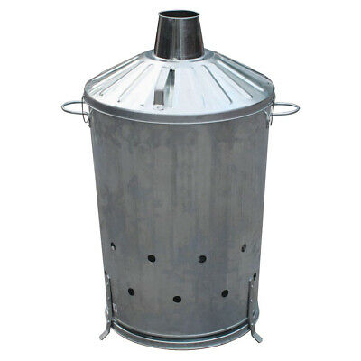90L INCINERATOR GALVANISED METAL GARDEN WASTE GARDEN RUBBISH LEAVES BURNER BIN