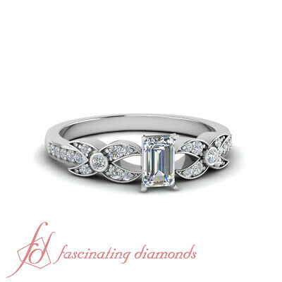 Pave Set Engagement Ring 0.70 Ct Emerald Cut Diamond SI1-E Color GIA Certified