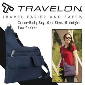 NEW Travelon Anti-Theft Cross-Body Bag, One Size, Midnight, Two Pocket Condtion: New, Midnight