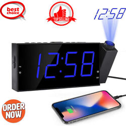 Projection Digital Alarm Clock Radio for Bedrooms Ceiling w/USB PhoPhone Charger