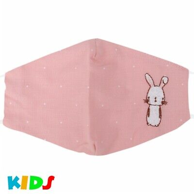 Kinder Stoffmaske Mundschutz Maske Hase Kaninchen Comic Rosa Junge Mädchen Süß