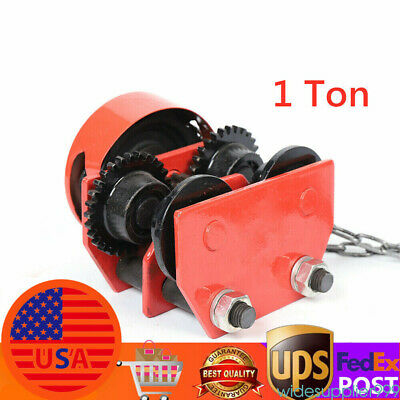 1 Ton Monorail Push Beam Trolley Hoist Winch Crane Lift Track W Chain Us Stock