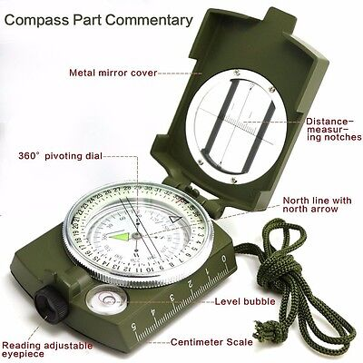 Military Prismatic Sighting Compass Waterproof Radium Dial Scouts Camps Hikers