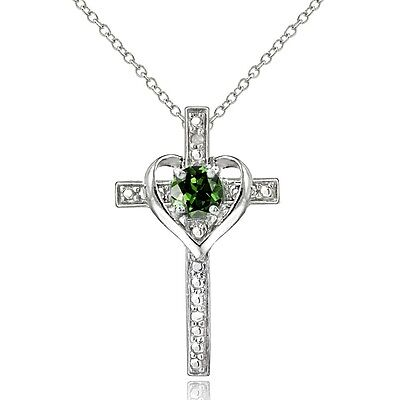 Created Emerald Cross - Sterling Silver Created Emerald & Diamond Accent Cross Heart Necklace