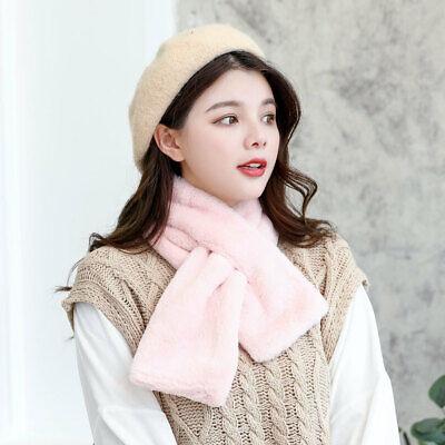2019 Stylish Collar Scarf Solid Color Imitate Fur Long Neckerchief Tied 88x13cm Long Collar Scarf
