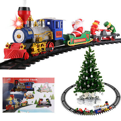15Pcs Christmas Train Round Track Set With Light Sound Smoke For Children Gift