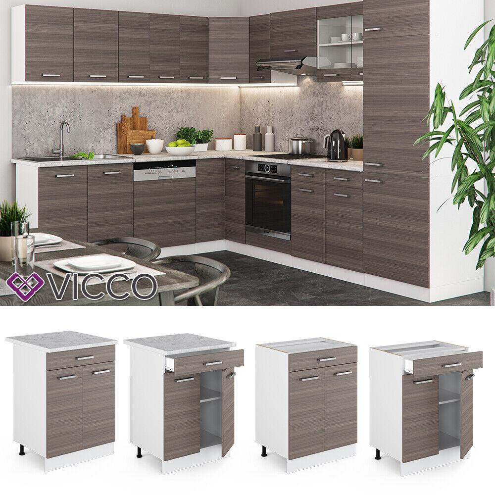 VICCO Küchenschrank Hängeschrank Unterschrank Küchenzeile R-Line Schubunterschrank 60 cm edelgrau