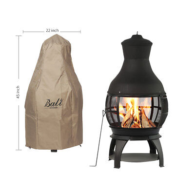 Pit Cover - Chiminea Outdoor Fireplace Fire Pit Backyard Wood Burning Heater w/ Rain Cover