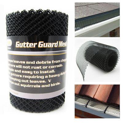 "Gutter Guard Mesh 16 Ft X 6In Black Plastic 5"" & 6"" Gutters Cover Easy Install"