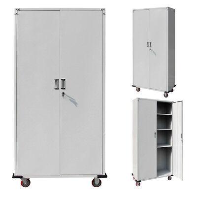 New Metal Rolling Garage Sucker Box Storage Cabinet Shelving Doors w/ 4 shelves