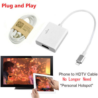 Phone To HDMI HDTV TV Adapter Video Cable For Apple iPad iPhone X 5S 6S 7 8 Plus