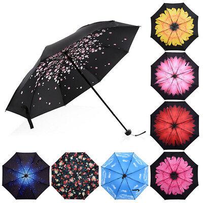 Folding Compact Umbrella Windproof Flower Rain Anti-UV Sun Parasol Black Coated ](Black Parasol)