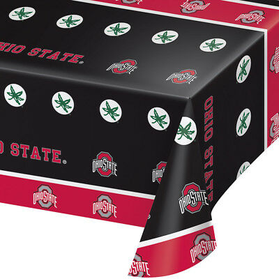 2-ct Ohio State University Premium Plastic Table Covers College Football Party  - Ohio State Party Supplies