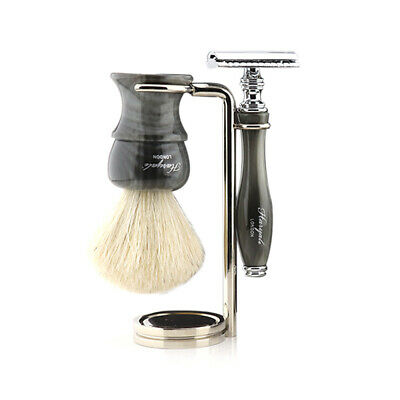 Pure White Shaving Brush with DE Safety Razor & Stand Best Personal Use Kit