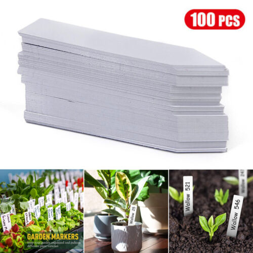 """100Pcs 3.9"""" Plastic Plant Labels Garden Stakes Markers Nursery Tags Waterproof"""
