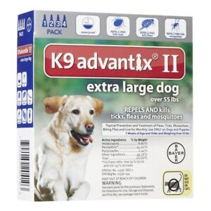 K9 Advantix II Flea Tick Mosquito prevention for XLarge dogs over 55 lbs 4 pack