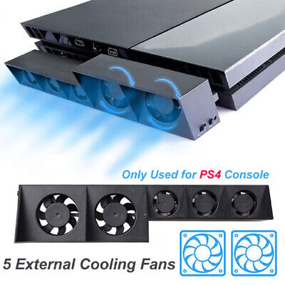 PS4 Console Fast Cooling Fan with 5 External Temperature Cooler Fans USB For PS4