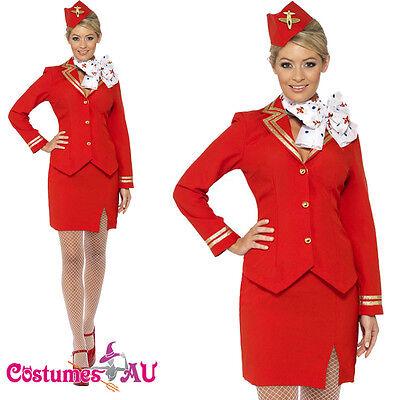 Air Hostess Fancy Dress (Ladies Red Trolley Dolly Virgin Air Hostess Flight Attendant Fancy Dress Costume)