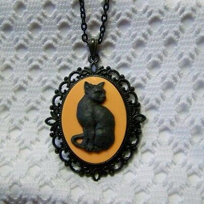 BLACK CAT CAMEO NECKLACE, ORANGE & BLACK, GOTH WITCH HALLOWEEN COSTUME ACCESSORY - Black Cat Witch Halloween Costume
