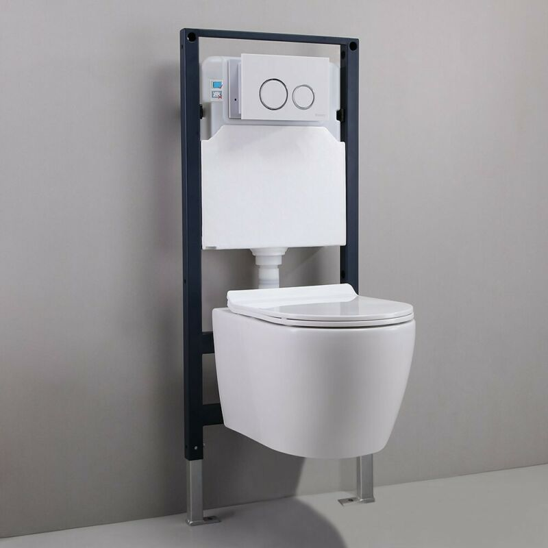 Wall Mounted White Dual Flush Toilet Wall Tank Carrier System for Bathroom