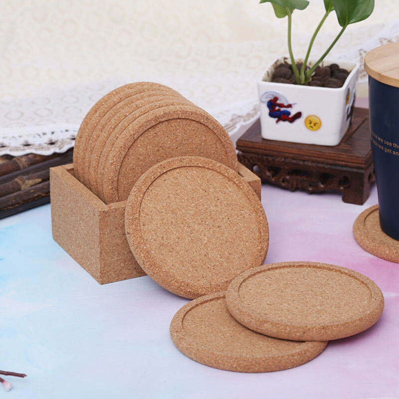 2x Natural Cork Coasters Drinks Absorbent Heat&water Resistant Durable Saucers