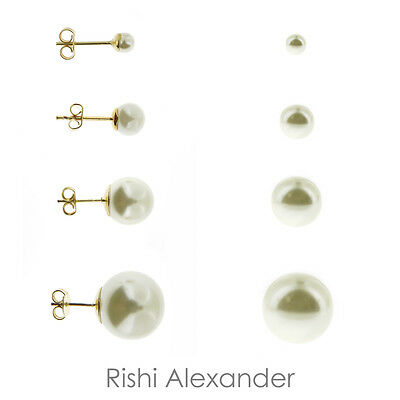 Round Shell Earrings - 18k Gold Filled Round Shell Pearl Stud Earrings Butterfly Posts