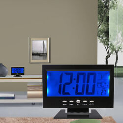 LCD Digital Table Desk Clock Calendar Thermometer Humidity Alarm Snooze 12/24H
