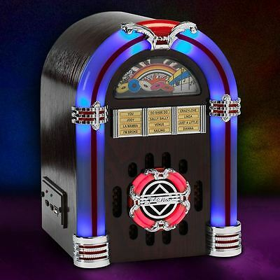 Steepletone USB Sub LED Jukebox - Dark Wood Retro Mini SD MP3 Music Speaker