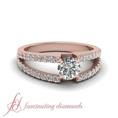 1.25 Carat Round Cut Diamond Split Shank Engagement Rings For Women In Rose Gold