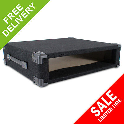 """2U 19"""" Inch Black Carpet Covered MDF Rack Equipment Sleeve Case Protect Your Amp"""