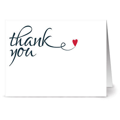 24 Thank You Note Cards - Heart Felt Thank You - Red Envs ()