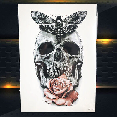 Waterproof Skull Moth Temporary Tattoo Women Men Rose Body Arm Makeup Stickers - Mens Skull Makeup