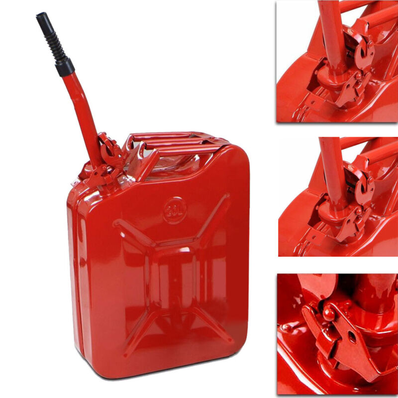 Jerry Can 5 Gal 20L Steel Gasoline Gas Fuel Tank Military Emergency Backup Red