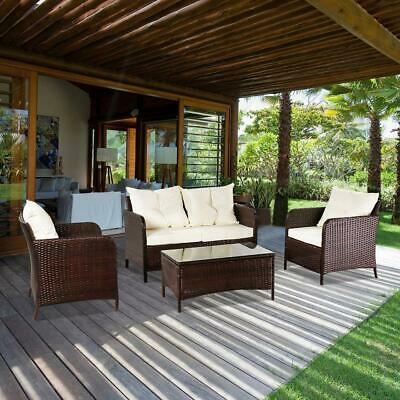 Garden Furniture - 4 Pcs Patio Rattan Wicker Sofa Set Yard Garden Furniture Outdoor Sectional Couch