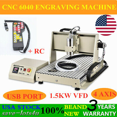 Usb 4 Axis Cnc 6040z Router Engraving Wood Metal Milling Machine 1500w Rc