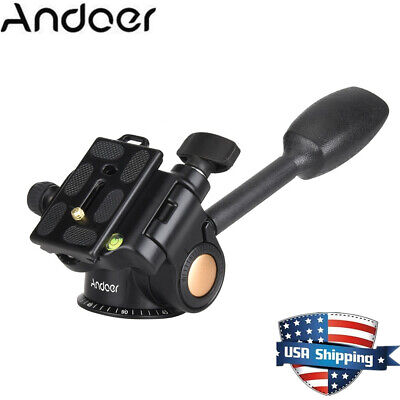 Tripod Ball Fluid Head Rocker Arm+Quick Release Plate for Camera DSLR Monopod